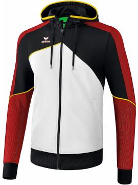 Erima Premium One 2.0 trainingsjack met capuchon wit/zwart/rood/geel
